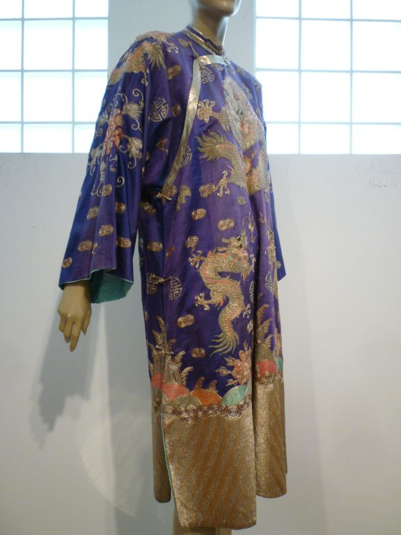 Beautiful Antique Chinese Hand-Embroidered Gold Satin Robe 2