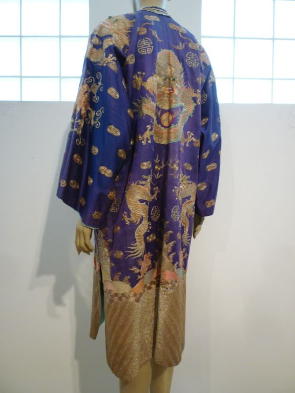 Beautiful Antique Chinese Hand-Embroidered Gold Satin Robe 3