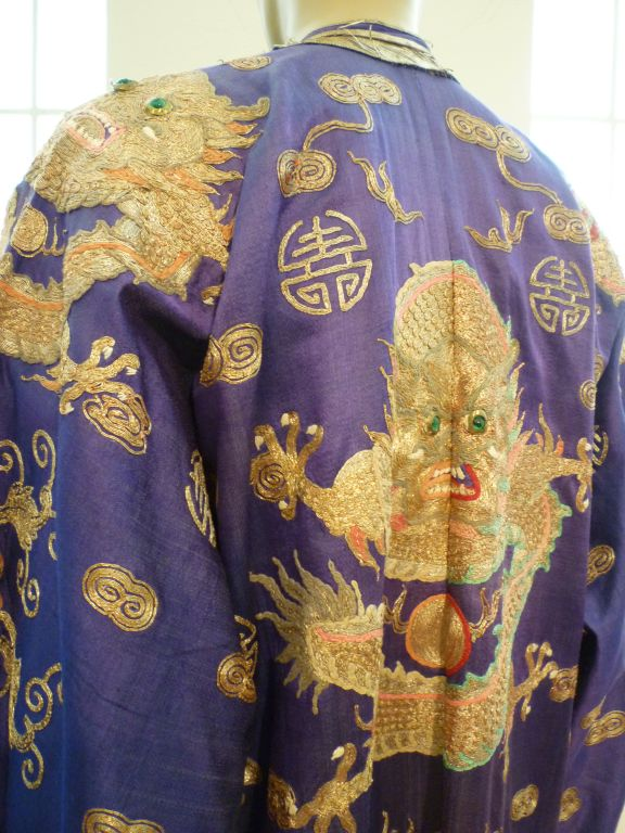 Beautiful Antique Chinese Hand-Embroidered Gold Satin Robe 4