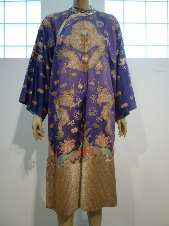 Beautiful Antique Chinese Hand-Embroidered Gold Satin Robe 6