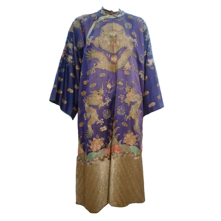 Beautiful Antique Chinese Hand Embroidered Gold Satin Robe