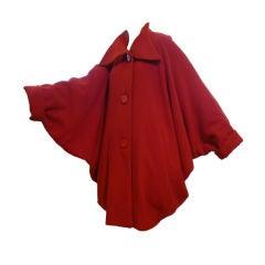 Alik Singer 80s Extreme Dolman Sleeve Cocoon Coat in Red