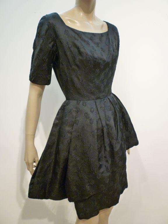 Werlé 50s Silk Jacquard Cocktail Dress w/ Asymmetrical Peplum 2