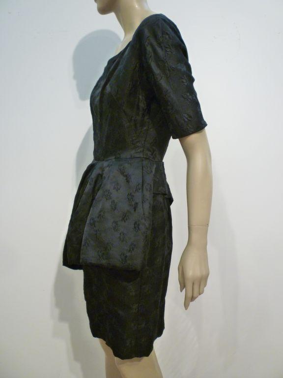 Werlé 50s Silk Jacquard Cocktail Dress w/ Asymmetrical Peplum 4