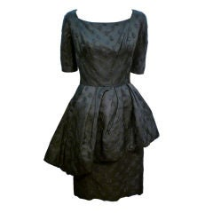 Werlé 50s Silk Jacquard Cocktail Dress w/ Asymmetrical Peplum