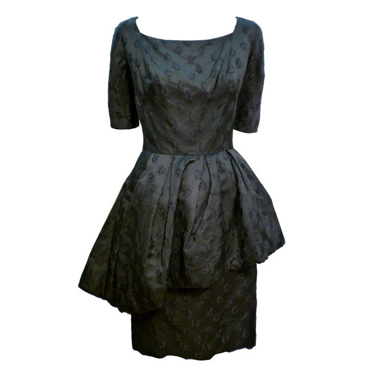 376d4cfe4f2 Werlé 50s Silk Jacquard Cocktail Dress w  Asymmetrical Peplum For Sale