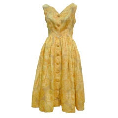 Gorgeous 50s Silk Organza Floral Print I. Magnin Dress