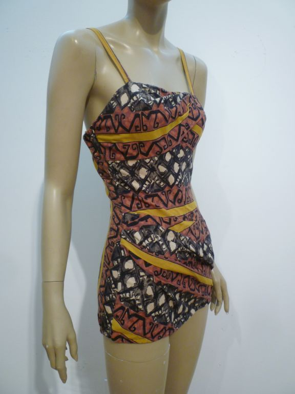 50s Tiki Print One-Piece Rose-Marie Reed Bathing Suit 2