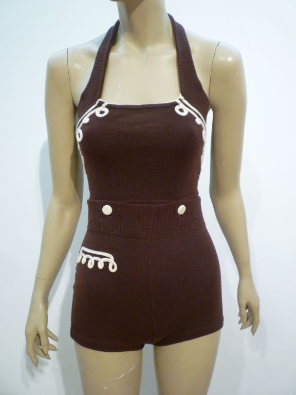 30s Wool Bathing Suit / Play Suit in Two Pieces at 1stdibs