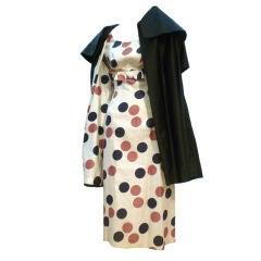 50s Matching Cotton Print Dress and Coat Ensemble