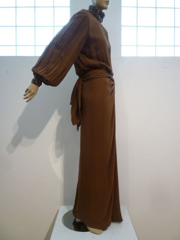 Black James Galanos Brown Chiffon Gown with Pleating & Beading For Sale