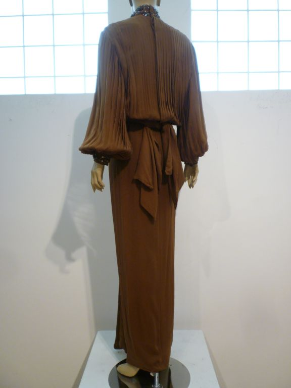 Women's James Galanos Brown Chiffon Gown with Pleating & Beading For Sale