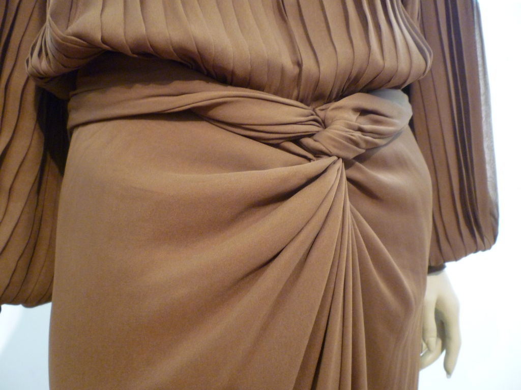 James Galanos Brown Chiffon Gown with Pleating & Beading For Sale 1