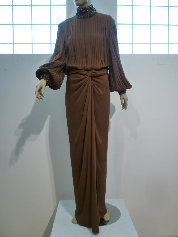 James Galanos Brown Chiffon Gown with Pleating & Beading For Sale 5