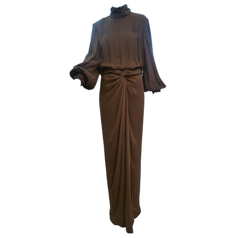 James Galanos Brown Chiffon Gown with Pleating & Beading For Sale