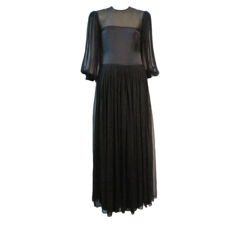 James Galanos 80s Silk Chiffon Gown w/ High Leg Slit