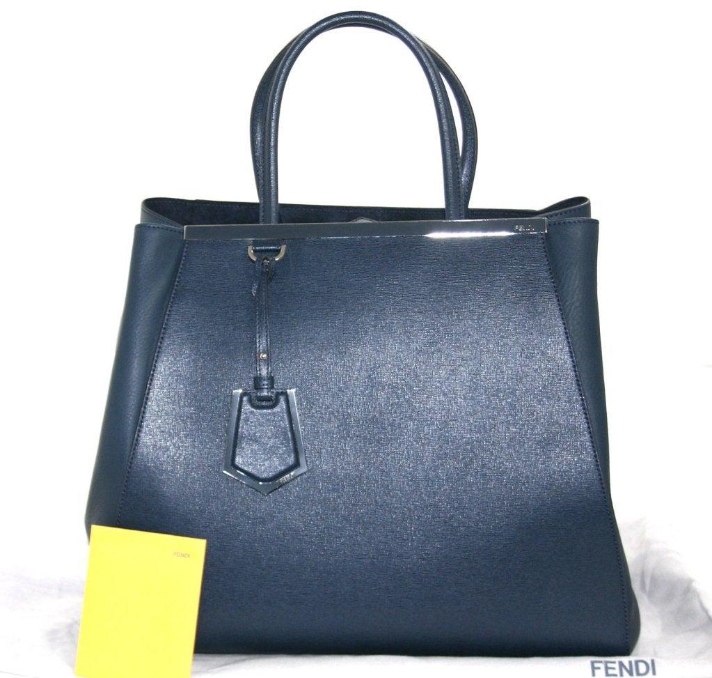 Fendi Blue Leather 2jours Large Shopper 10