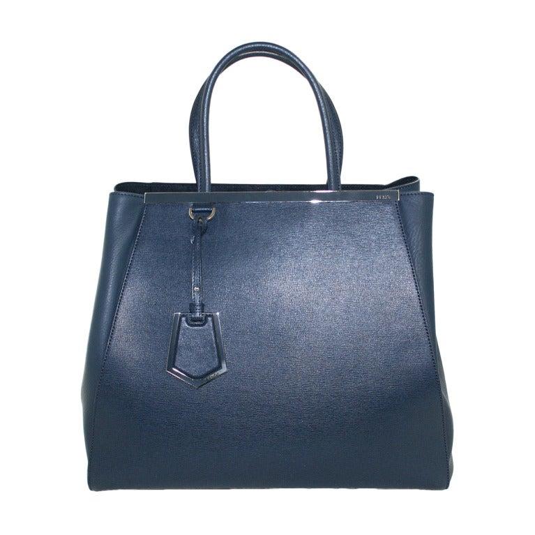 Fendi Blue Leather 2jours Large Shopper 1