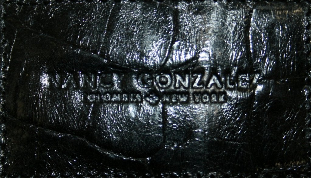 Nancy Gonzalez Black Floral Laser Cut Crocodile Tote 6