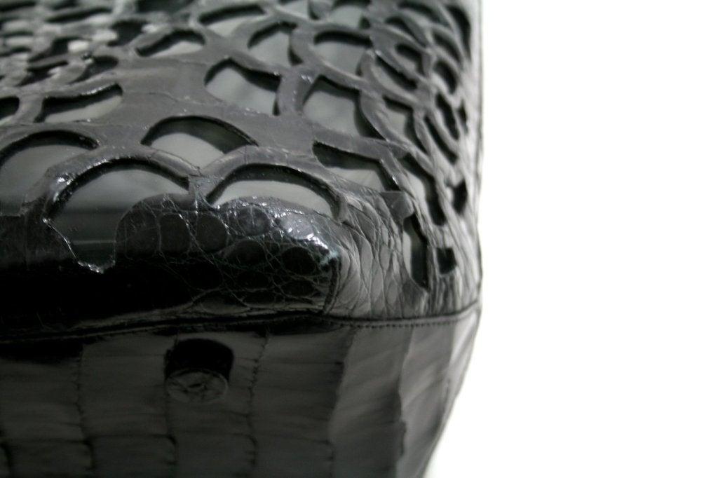 Nancy Gonzalez Black Floral Laser Cut Crocodile Tote 8