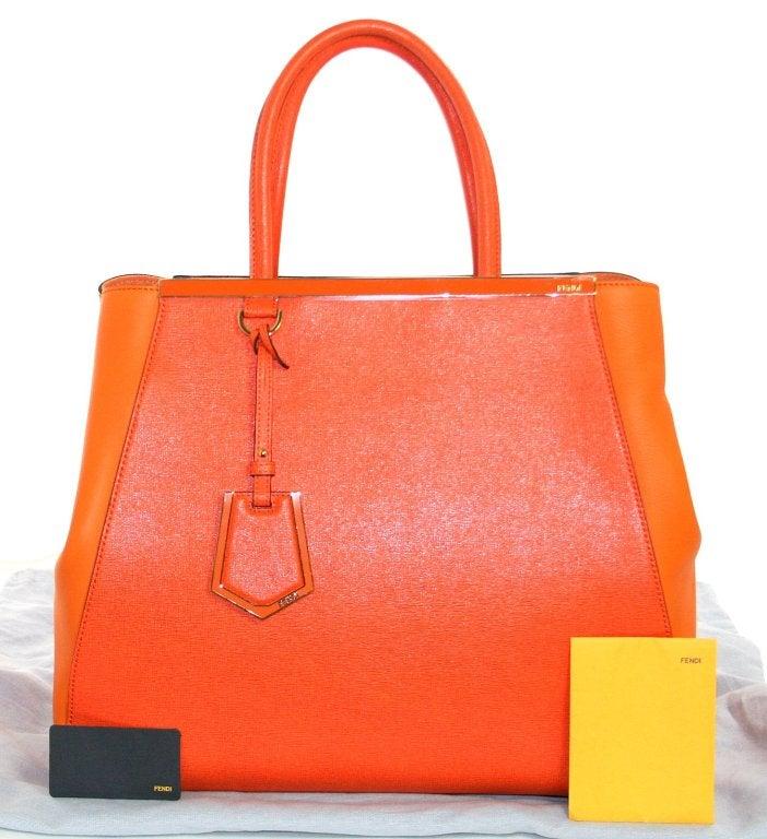 Fendi Orange Leather 2jours Large Shopper 10