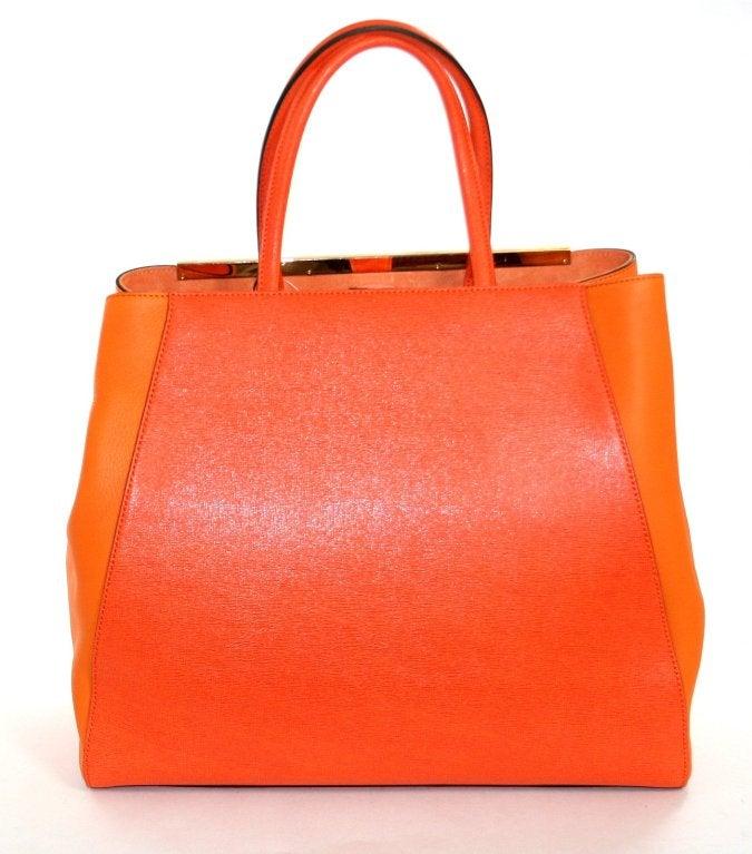 Fendi Orange Leather 2jours Large Shopper 2