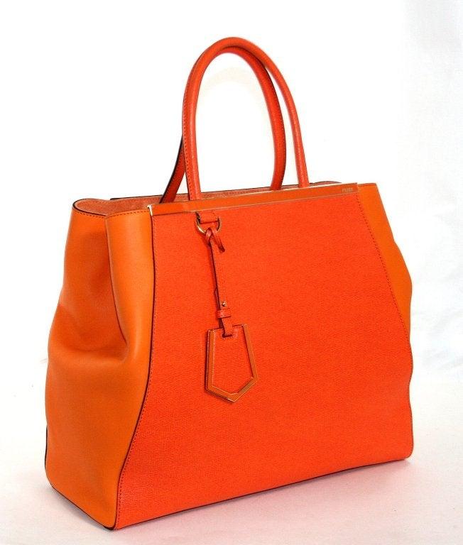 Fendi Orange Leather 2jours Large Shopper 3