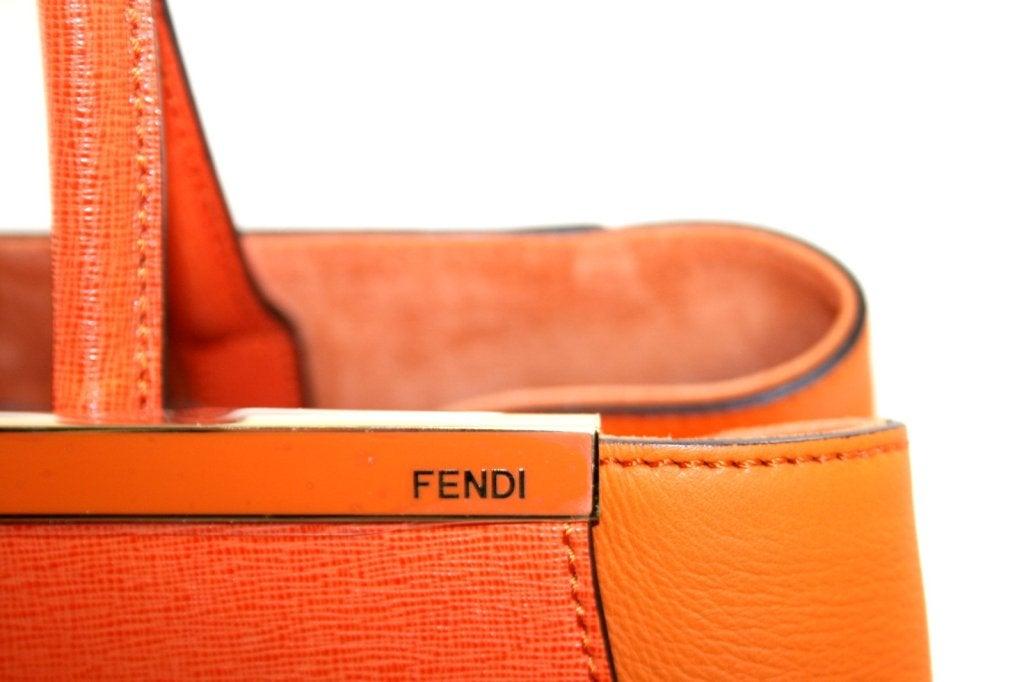Fendi Orange Leather 2jours Large Shopper 4
