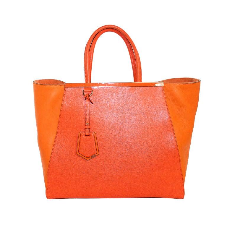 Fendi Orange Leather 2jours Large Shopper 1