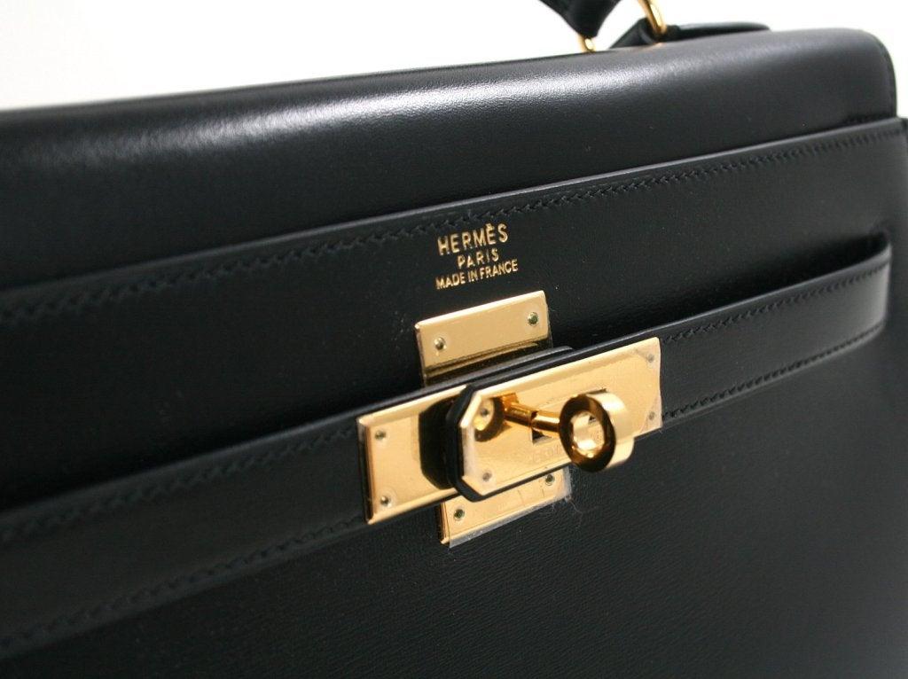Herm¨¨s Vintage Black Box Calf 32 Cm Kelly Sellier at 1stdibs