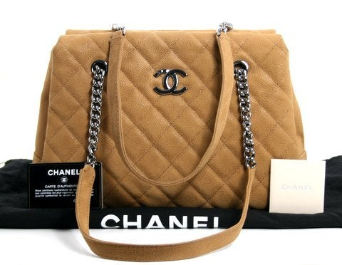 Chanel Beige Caviar Chain Shopping Tote 10