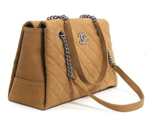 Chanel Beige Caviar Chain Shopping Tote 2