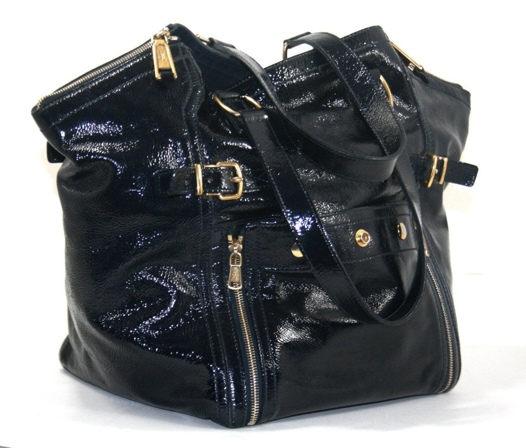 YSL Black Patent Leather Large Downtown Bag at 1stdibs