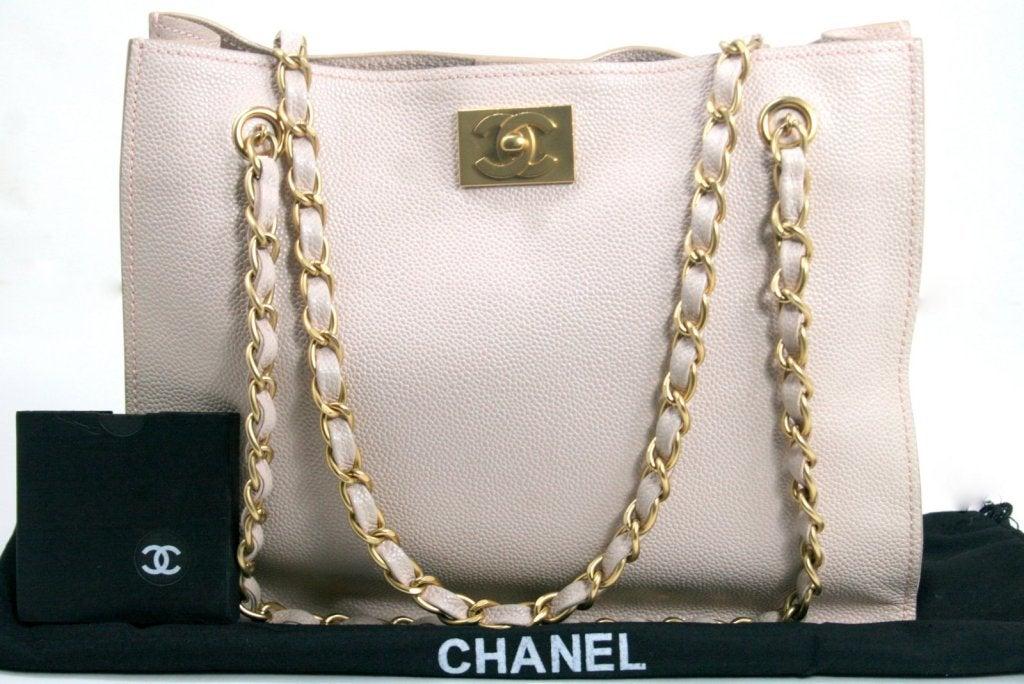 Chanel Vintage Cream Caviar Leather Tote 10