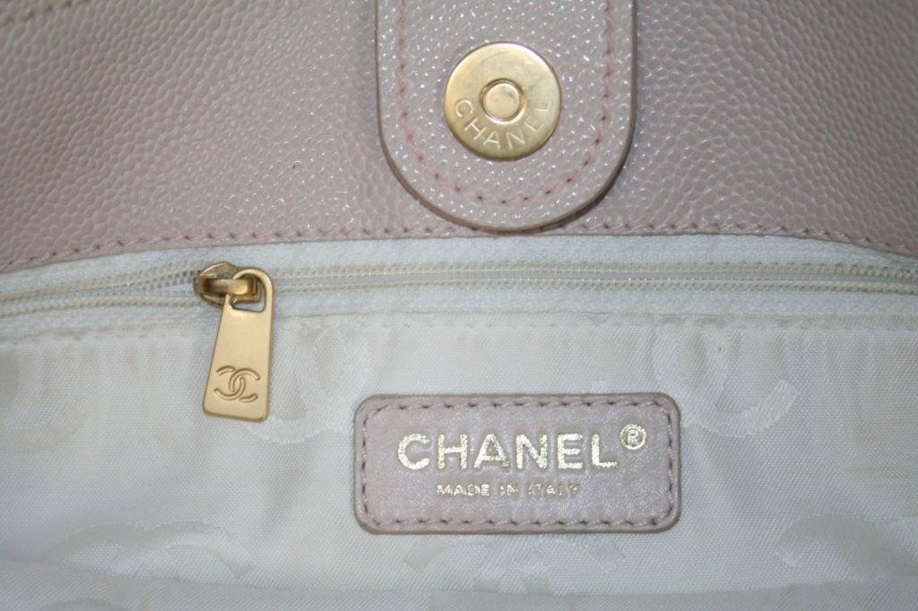 Chanel Vintage Cream Caviar Leather Tote 6