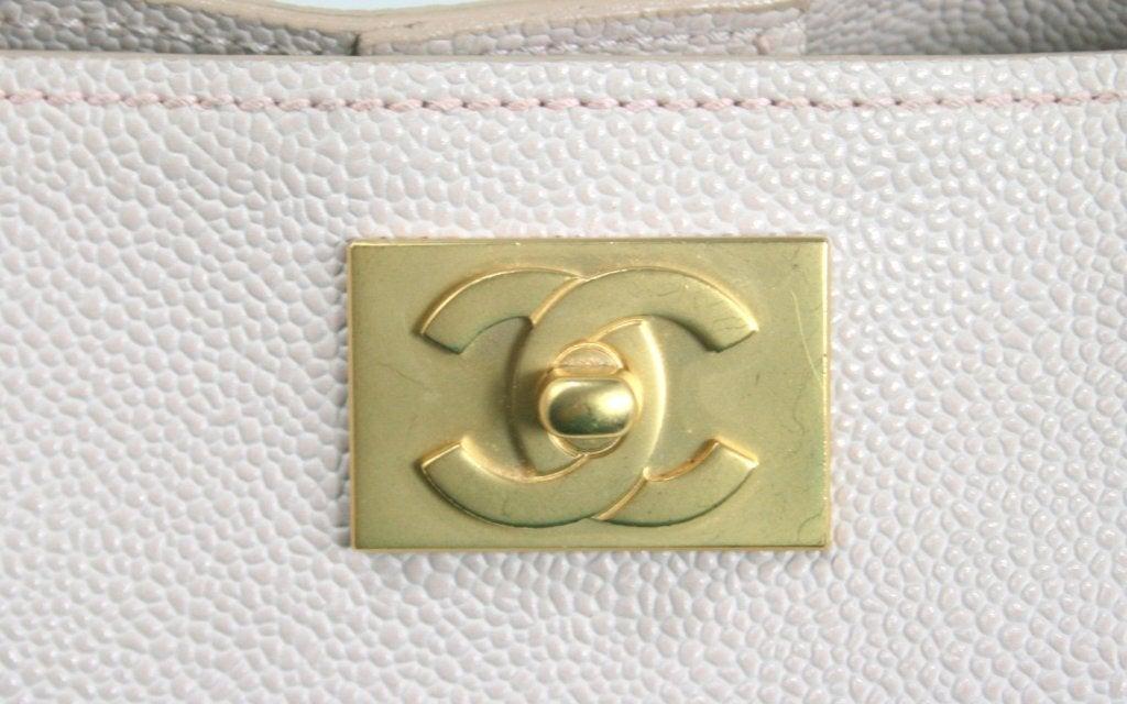 Chanel Vintage Cream Caviar Leather Tote 7
