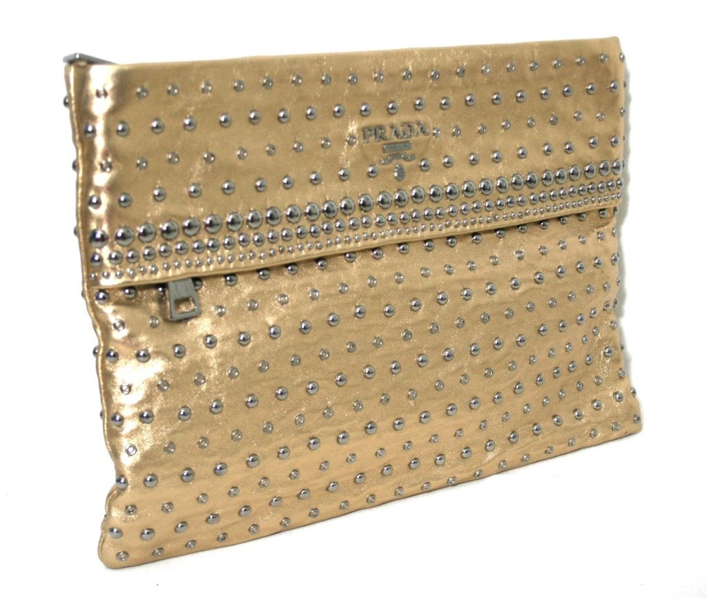Prada Gold Leather Studded Clutch at 1stdibs
