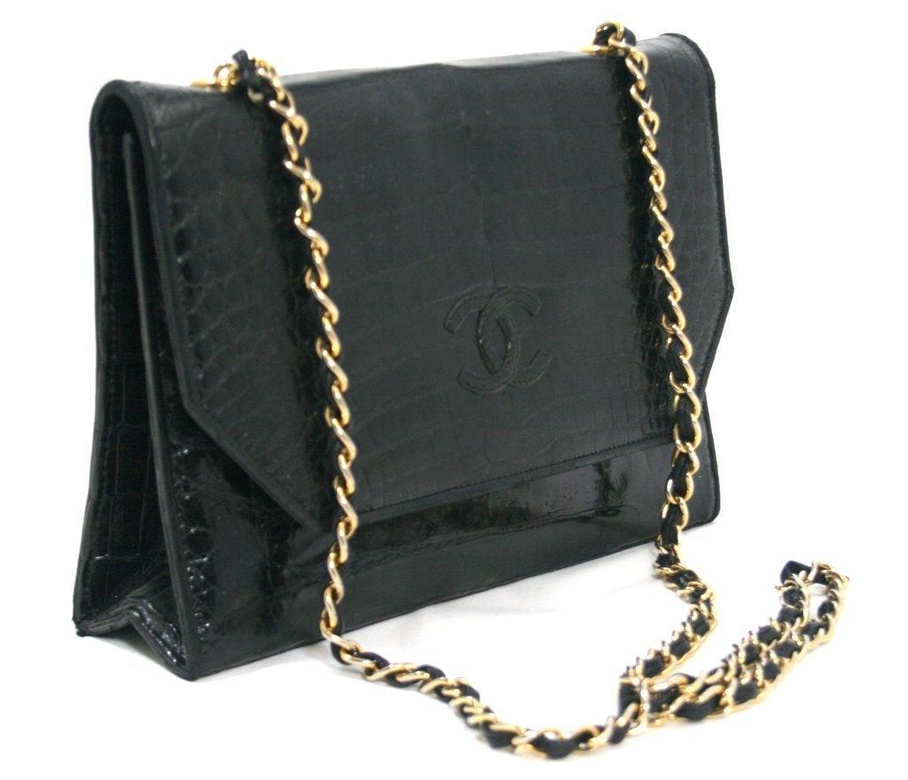 chanel vintage black crocodile bag at 1stdibs