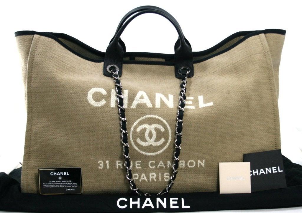Chanel Tan Canvas XL Cambon Tote 10