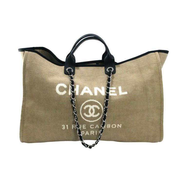 Chanel Tan Canvas XL Cambon Tote 1