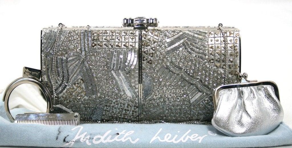 Judith Leiber Silver Crystal Clutch 10