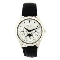 Patek Philippe White Gold Perpetual Calendar Wristwatch Ref 3940G