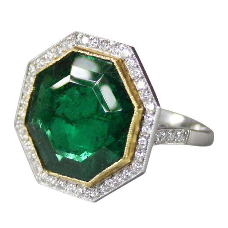 1950s Emerald Diamond Gold Platinum Ring
