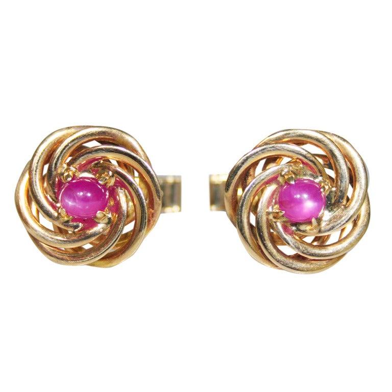 Retro Pink Star Sapphire Cufflinks For Sale