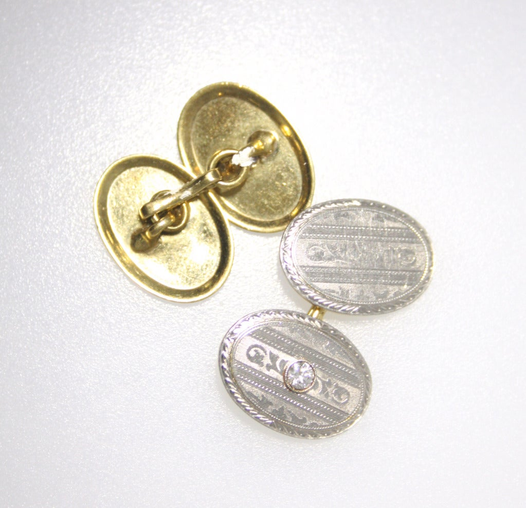 Double Gold Platinum: 1900s Double Sided Diamond, Gold And Platinum Cufflinks At