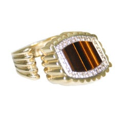 1980's  La Triomphe Tigers Eye, Diamond and Gold Ring