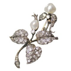 1800's Natural Pearl and Diamond Pin