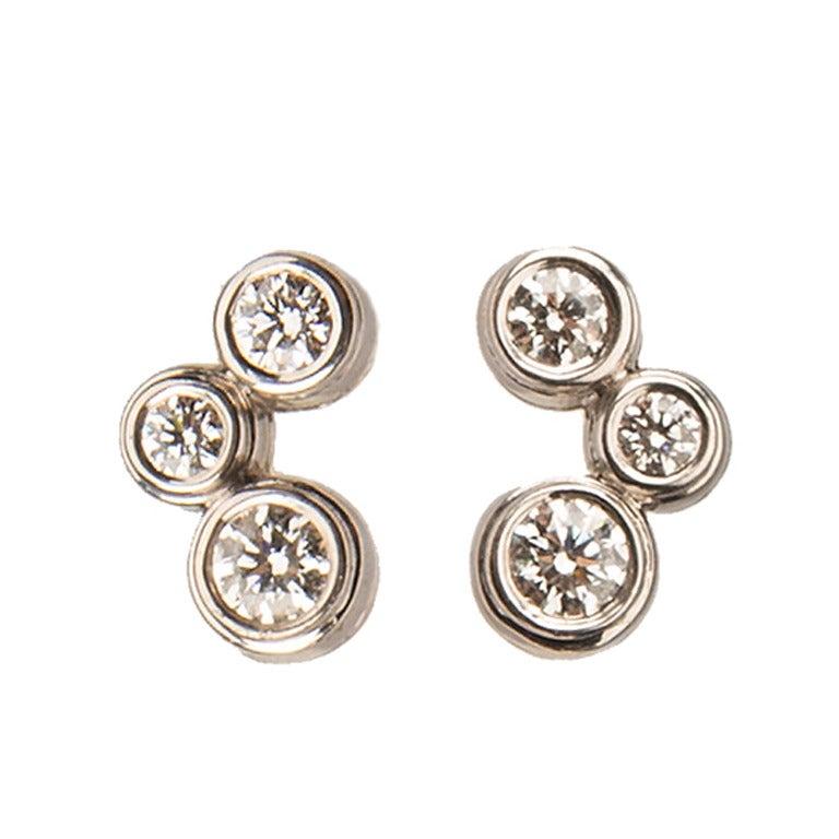 Tiffany Bubbles Diamond Platinum Earrings At 1stdibs