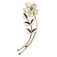 Tiffany & Co. Ruby Moonstone Gold Brooch