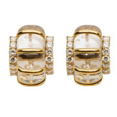 Seaman Schepps Rock Crystal Diamond Gold Earrings